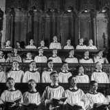 Members of the Boys Choir at St. John the Divine Episcopal Church Singing During Services Fotografisk tryk af Cornell Capa