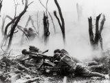 American Soldiers of 23rd Inf. Firing 37mm Machine Gun at German Positions, Argonne Forest, WWI Lámina fotográfica