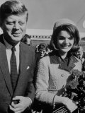 President John F. Kennedy and Wife Arriving at Airport Photographic Print by Art Rickerby