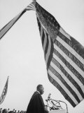 Reverend Martin Luther King Jr. Speaking at Prayer Pilgrimage for Freedom at Lincoln Memorial Premium Photographic Print by Paul Schutzer
