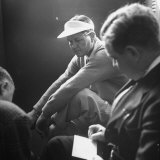 Golfer Byron Nelson Talking to Sportswriters in the Locker Room Premium Photographic Print by Gabriel Benzur