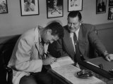 Player Ted Williams Signing Contract with Red Sox Manager, Thomas A. Yawkey Premium Photographic Print by Ralph Morse