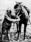 American Soldier and Horse Demonstrating Use of Gas Masks, During WWI Lámina fotográfica