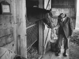 Trainer Jim Fitzsimons at Aqueduct Track Stables after William Woodward's Death in Stable Fotografie-Druck von Grey Villet