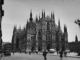 View of a Cathedral in the City of Milan Stretched Canvas Print by Carl Mydans