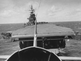 """Plane Taking Off from Flight Deck of Aircraft Carrier """"Enterprise"""" Photographic Print by Peter Stackpole"""