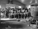 Large Group of Mostly African American Students in a Ramshackle One Room Schoolhouse Reproduction photographique par Ed Clark