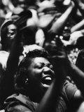 Unidentified African American Women at Meeting First Baptist Church During Bus Boycott Lámina fotográfica