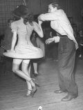 An Aircraft Worker Dancing with His Date at the Lockheed Swing Shift Dance Stretched Canvas Print by Peter Stackpole
