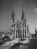 Exterior View of Chartres Cathedral Lámina fotográfica