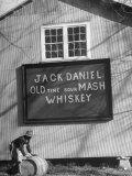 Barrel Being Rolled to Warehouse at Jack Daniels Distillery Fotografisk tryk af Ed Clark