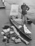 Dr. Hannes Lindemann Standing Next to the Folding Boat He Crossed the Atlantic Ocean In Photographic Print by Peter Stackpole
