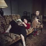 Portrait of Painter Balthus and His Niece Frederique Tison at the Chateau De Chassy Reproduction photographique par Loomis Dean