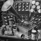 Phonograph Invented by Thomas A. Edison Sitting on Table with Boxes of Cylindrical Records Photographic Print