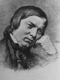 Drawing by Bendemann Dated 1859 of German Composer Robert Schumann Fotografisk tryk