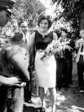Mrs John F. Kennedy During Her Tour of India Premium Photographic Print
