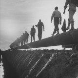 Men Laying Pipeline Photographic Print