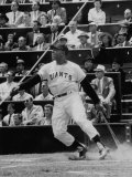 Baseball Player Willie Mays Hitting a Ball Reproduction photographique Premium