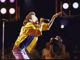 Singer Mick Jagger of the Rock Band the Rolling Stones Performing at Live Aid Concert Premium Photographic Print by David Mcgough