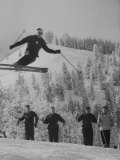 Olympic Hopeful, Bud Werner, Jumping Slope, at Sun Valley Training Camp Premium-valokuvavedos
