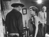 "Director Howard Hawks Coaching Actress Angie Dickinson on Set for ""Rio Bravo"" Premium Photographic Print by Allan Grant"
