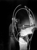 Multiple Exposure of Artist Pablo Picasso Using Flashlight to Make Light Drawing in the Air Premium Photographic Print by Gjon Mili