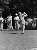 Spectators Watching Ben Hogan, Drive a Ball, at the National Open Golf Tournament Premium Photographic Print