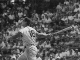 Action Shot of Cincinatti Red's Ted Kluszewski, Following the Direction of Baseball from His Hit Premium fototryk af John Dominis