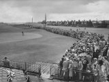 Scene from the British Open, with Spectators Watching Ben Hogan on the Green Premium Photographic Print by Carl Mydans