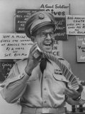 Comedian Phil Silvers Playing Cards on His Television Show Premium fototryk af Yale Joel