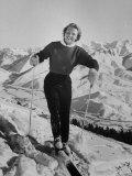 Olympic Hopeful, Jill Kinmont, Leaning Forward on Ski Pole, at Sun Valley Training Camp Premium-valokuvavedos