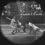 New York Yankees Player Mickey Mantle, Batting During Game Premium Photographic Print