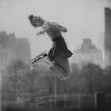 Olympic Skater Carol Heiss Performing on Ice Outdoors at Wollman Memorial Rink in Central Park Premium Photographic Print by Ralph Morse