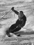 Olympic Hopeful, Tom Corcoran, Demonstrating Down Hill Turn, at Sun Valley Training Camp Premium-valokuvavedos
