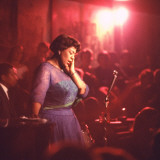 "Jazz Singer Ella Fitzgerald Performing at ""Mr. Kelly's"" Nightclub Premium Photographic Print by Yale Joel"