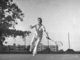Vice Presidential Candidate Henry A. Wallace, Playing a Game of Tennis Premium Photographic Print by Thomas D. Mcavoy