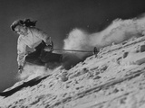 15-Year Old Skiing Prodigy Andrea Mead Lawrence Practicing for Winter Olympics Fotoprint
