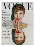 Vogue Cover - September 1957 - Mirrored Beauty Premium Giclee Print by John Rawlings