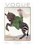 Vogue Cover - January 1926 - Zebra Safari Reproduction procédé giclée par André E. Marty