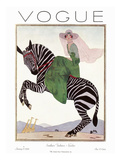 Vogue Cover - January 1926 - Zebra Safari Premium Giclee Print by André E. Marty