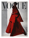 Vogue Cover - November 1946 - Red Gown Giclee Print by Horst P. Horst