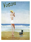 Vogue Cover - July 1937 - Beach Walk Premium Giclee Print by Eduardo Garcia Benito