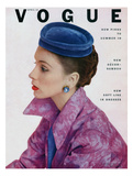 Vogue Cover - April 1952 - Topped in Blue Premium Giclee Print by John Rawlings