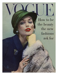 Vogue Cover - September 1956 - Lace and Fur Giclee Print by Karen Radkai