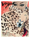 "Vogue Cover - November 1939 - Leopard Love Premium Giclee Print by Carl ""Eric"" Erickson"