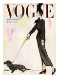 Vogue Cover - March 1917 - Dachshund Stroll Giclee Print by René R. Bouché