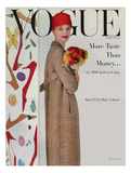 Vogue Cover - February 1956 - Flowers and Fashion Giclee Print by Karen Radkai