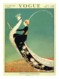 Vogue Cover - April 1918 - Peacock Parade プレミアムジクレープリント : ジョージ・ウルフ・プランク