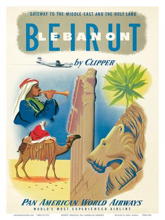 Pan American: Beirut - Lebanon by Clipper c.1950s Art Print