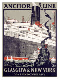 Anchor Line, Glasgow to New York Giclée-Druck von Kenneth Shoesmith